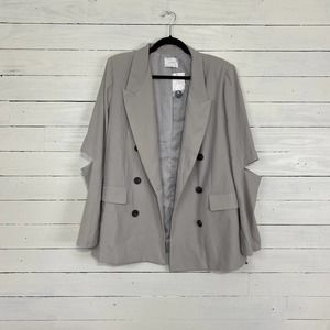 Lush Grey Open Elbow Double Breasted Blazer NWT